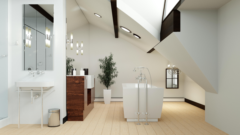 Freihstehende Badewanne im Dachgeschoss